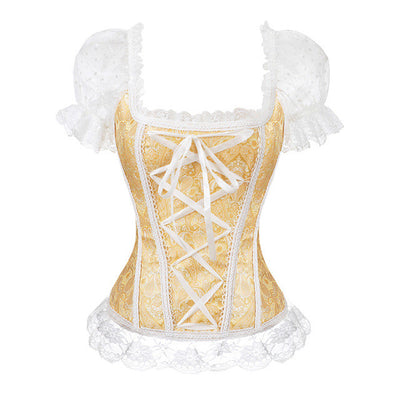 AIZEN Sexy Satin Corsets And Bustiers Gothic Lace Up Vest Overbust Corsets Shoulder Straps Brocade Corselet for Women Steampunk