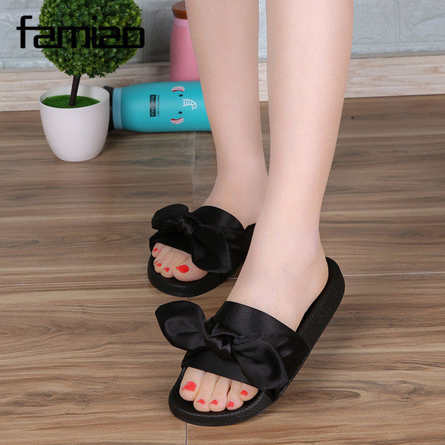 FAMIAO Silk Bow Slides Women Summer Beach Shoes Woman No Fur Slippers Flat  Heels Flip Flops 575f980e1251