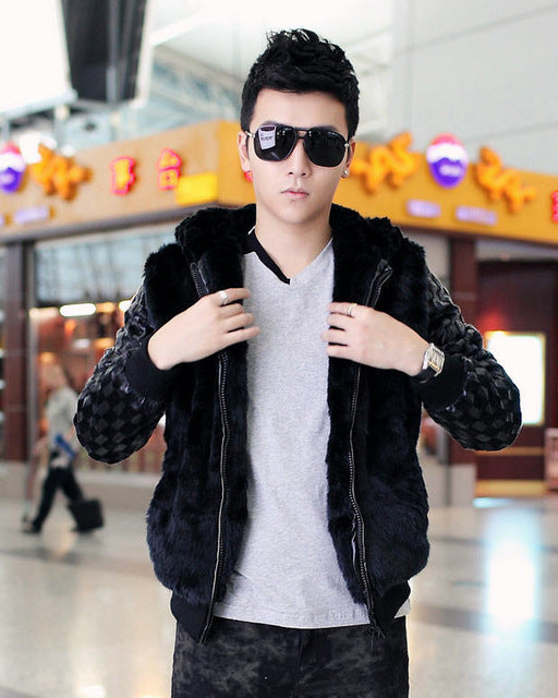 2013 winter new Korean men rabbit fur warm leather coat fashion men's stitching hooded fur jacket free shipping H1836 Leather Shanghai Supertech CO.,LTD.- upcube