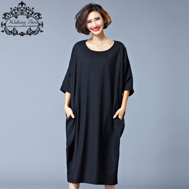 6cb1eaedeff 2017 New Summer Style Dress Plus Size Women Cotton Tshirt Dresses Casual  Clothes Solid Loose O