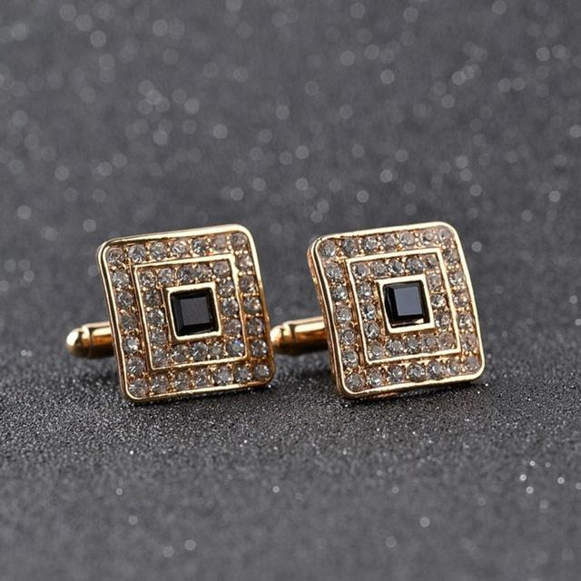 High Quality Classic Luxury Rhinestone Crystal Square Custom Enamel Men's Cufflink Male French Shirt Cuff links Wedding Jewelry