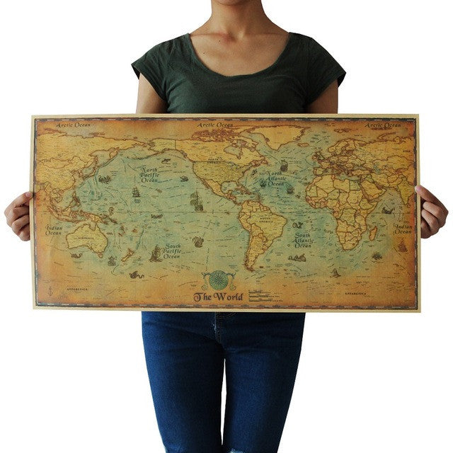 73x36.5cm Large Retro World Map Kraft Paper Paint Vintage Wall Sticker Poster Living Room Art Crafts Maps Bar Cafe Pub Wallpaper
