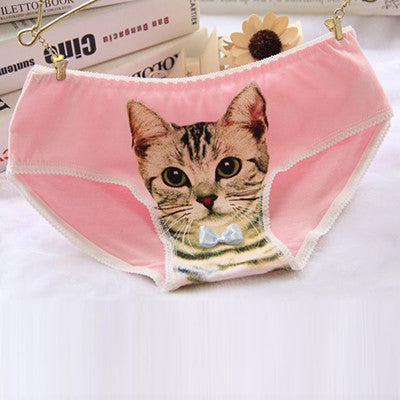 2016 Fashion Underwear Women Hot Sale Cotton Panties 3D Printed Cat Briefs Underwear for Gift Lingerie Intimates
