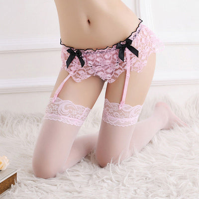 2017 Hot Sexy Lingerie Sexy Women Lace Floral Suspender Garter Belt G-String Thong Set For Stocking Sexy Underwear Accessories