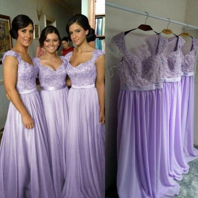 18e517e7356d Country Bridesmaid Dresses A Line Lilac Bridesmaid Dress Long Appliques  Modest Bridesmaid Gown Bruidsmeisje Jurk Volwassenen