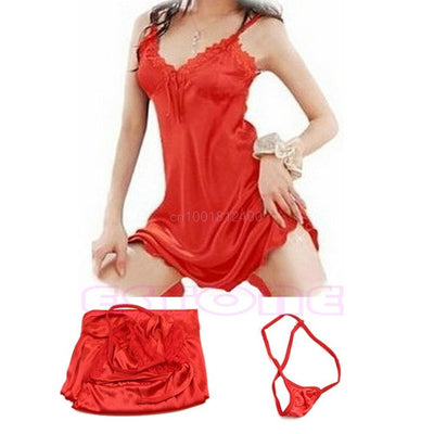 1pc Women Dress Sexy Sleepwear Nightgown Satin Silk Babydoll Lace Robes Sleep Dress Skirt Nightgowns & Sleepshirts Women's Word- upcube