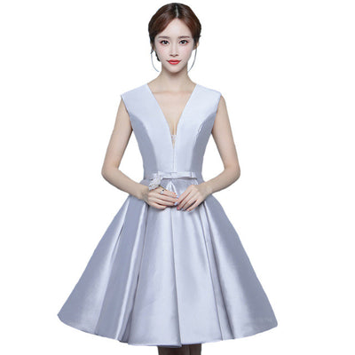 7b85a9a0bed Suosikki short evening dress v-neck elegant silver formal evening party gown  plus size robe