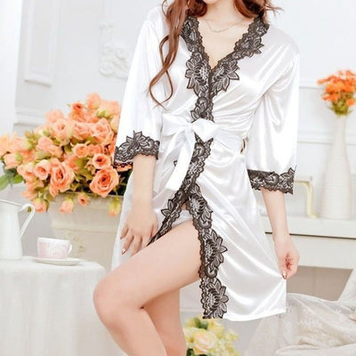 1 pcs Trendy Hot Women Lace Bathrobe Sexy Lingerie Sleepwear Dress Nightdress Nightgown camisola de dormir Nightgowns & Sleepshirts Daerwretch Store- upcube