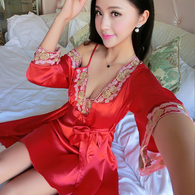 2017 summer Two Pieces Sets Elegant Womens Silk Satin Nightgowns&Sleepshirts Solid Sleepwear Mujer Robe Lady Sexy Nightdress Nightgowns & Sleepshirts highsunny Store- upcube