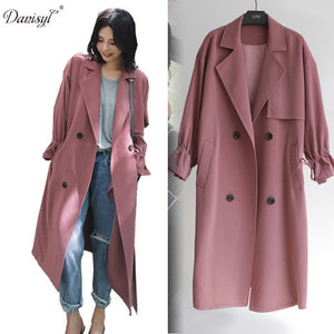 women's spring autumn plus long suit collar trench coat X- long casual oversize  plus size adjustable waist overcoat for women