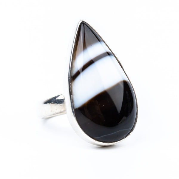 Black Agate Ring Size 6
