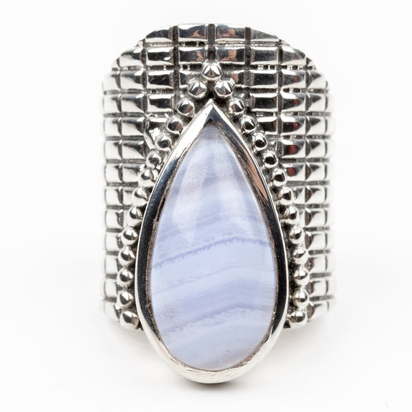 Blue Lace Agate Ring Size 5.5