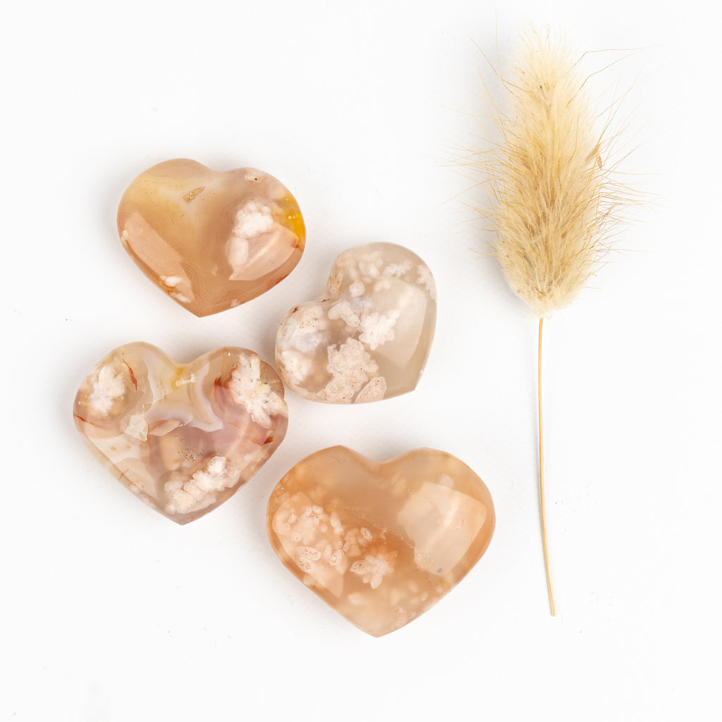 Flower Agate Companion Hearts