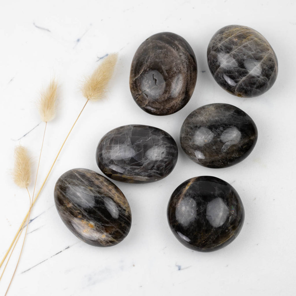 Black Moonstone Silver Sheen Palm Stones