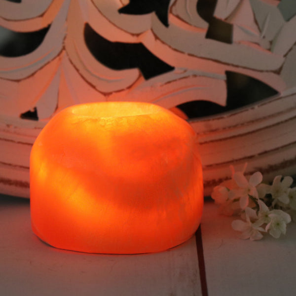 Orange Calcite Candle Holder  - Polished