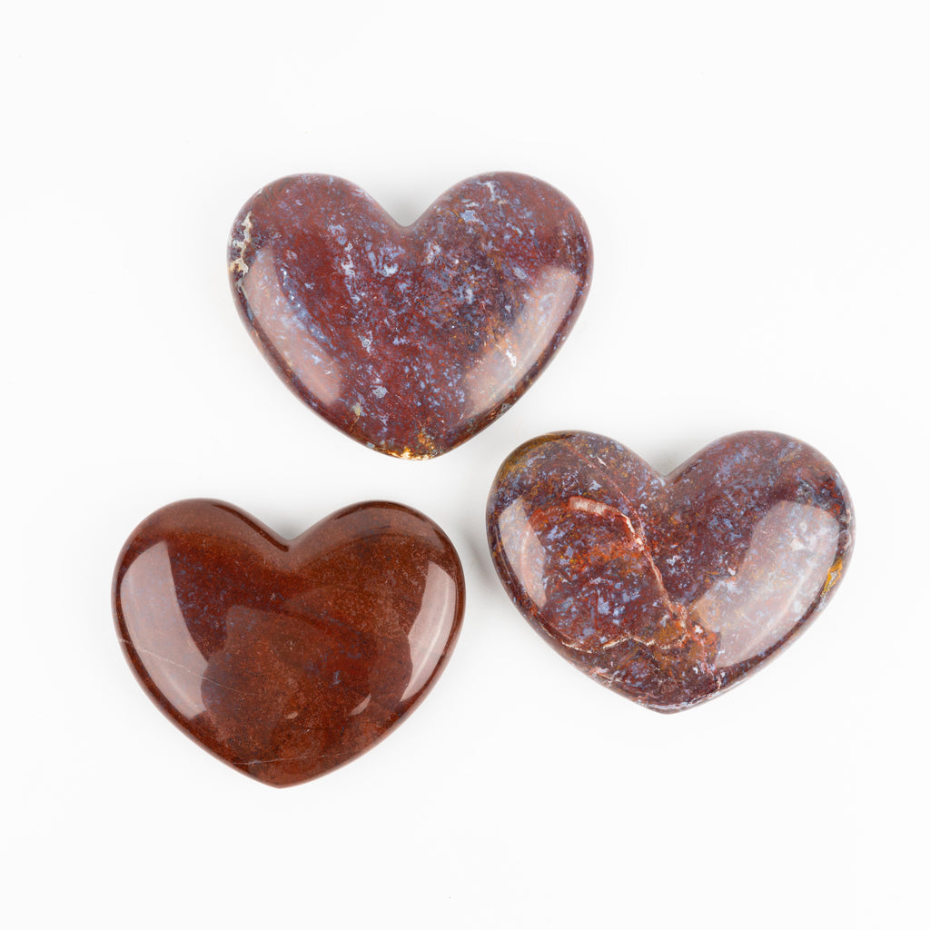 Red Moss Agate Hearts