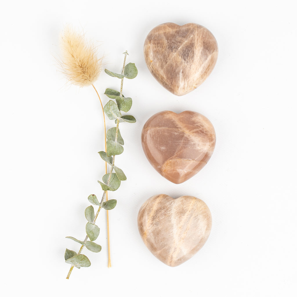 Peach Moonstone Companion Hearts