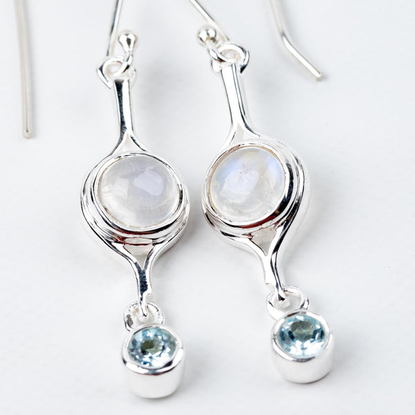 Rainbow Moonstone & Blue Topaz Dangle Earrings