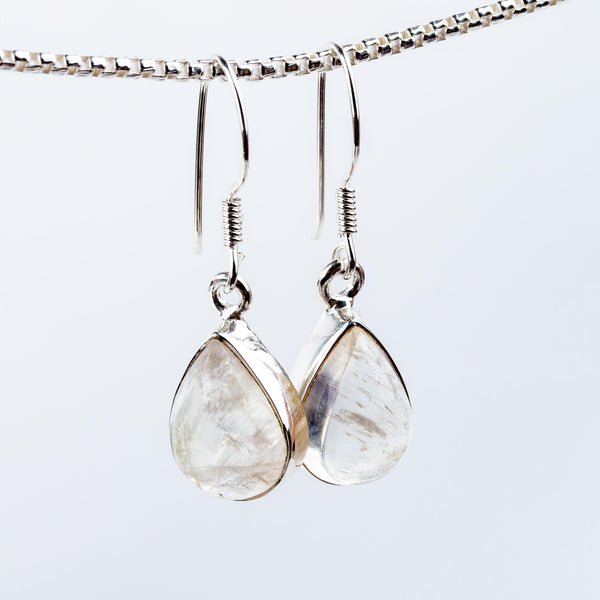 Rainbow Moonstone Dangle Earrings #1