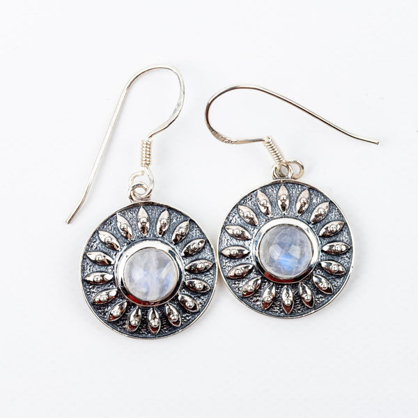 Rainbow Moonstone Dangle Earrings #5