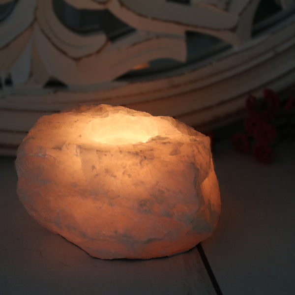 Rose Quartz Candle Holder - Natural
