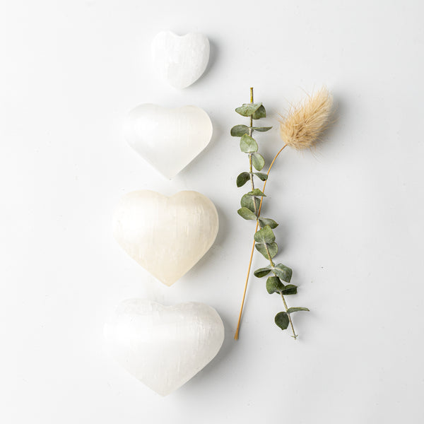 Selenite (Satin Spar) Companion Hearts
