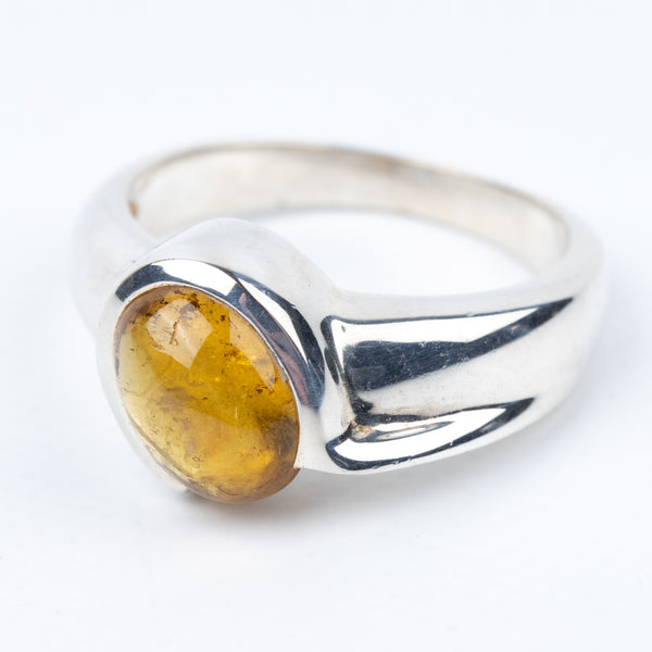 Yellow Tourmaline Ring Size 6.75