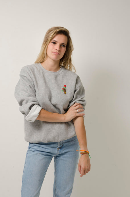 grey crewneck sweater rose hand embroidery duet garb garb.
