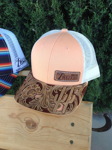 **SUMMER COLORS** CUSTOM HAND TOOLED BRIM CAP