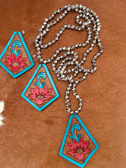 Leather Bead Necklace & Earring Set - Free Shipping - Use code FREESHIPPING