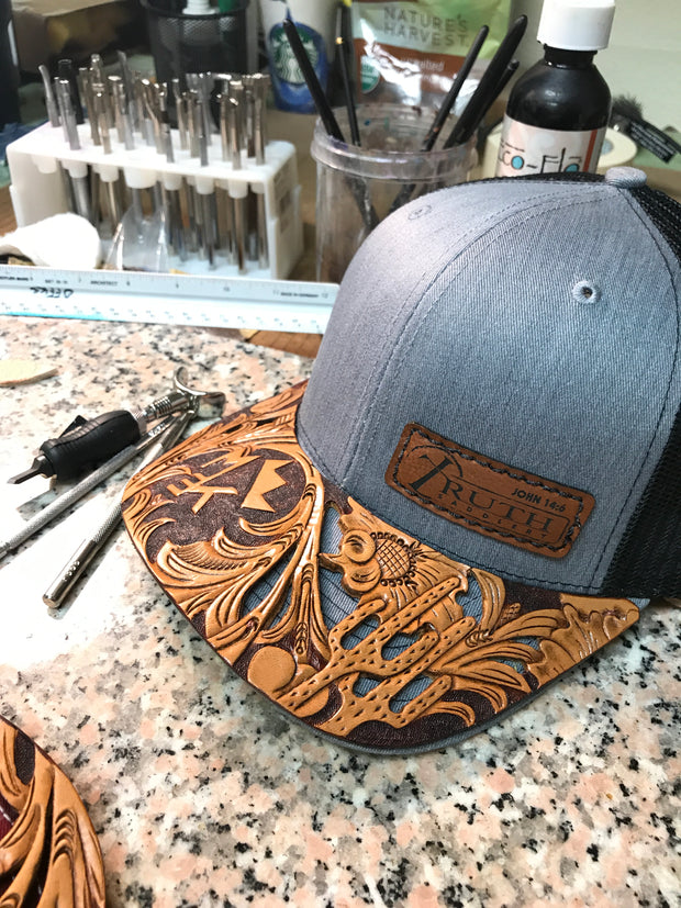 PERSONALIZED Leather Cap BRIM with Truth Saddlery Patch