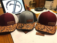 Image of CUSTOM HAND TOOLED Leather Cap BRIM — TRUTH SADDLERY PATCH CAPS - Snap back One size fi
