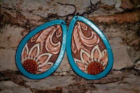 Handmade Teardrop Flower Leather Earrings - Free Shipping