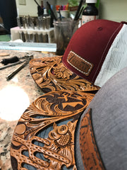 CUSTOM Leather Cap BRIM with Truth Saddlery Patch