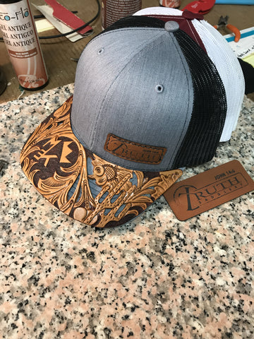 CUSTOM HAND TOOLED Leather Cap BRIM — TRUTH SADDLERY PATCH CAPS - Snap back One size fi