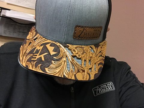 HAND TOOLED Leather Cap BRIM — TRUTH SADDLERY PATCH CAPS - Snap back One size fi