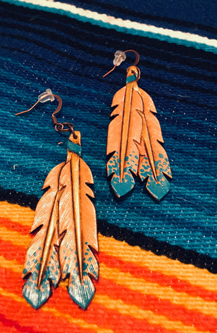 Leather Feather Earrings - Free Shipping