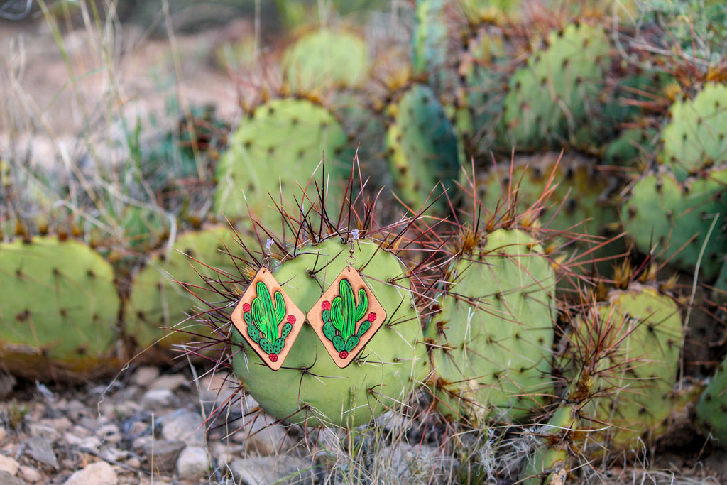 Handmade Cactus Leather Earrings - Free Shipping