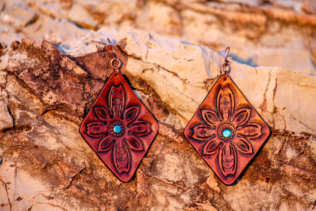 Handmade Diamond Flower Leather Earrings