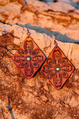 Handmade Diamond Flower Leather Earrings - Free Shipping