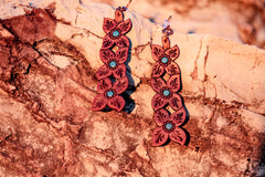 Handmade Stacked Flower Leather Earring- Free Shipping