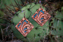 Handmade Square Leather Earrings -Free Shipping