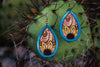 Image of Handmade Teardrop Flower Leather Earrings - Free Shipping