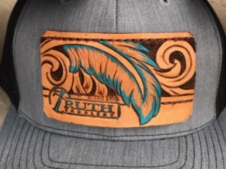 Turquoise Feather Leather Patch Cap
