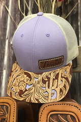 Image of HAND TOOLED Leather Cap BRIM — TRUTH SADDLERY PATCH CAPS - Snap back One size fi