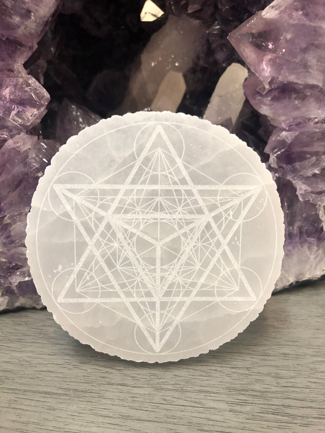 Metatron's Cube Engraved Selenite