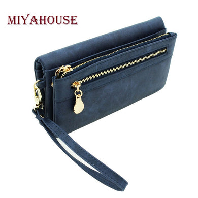 New High Capacity  Long Dull Polish PU Leather Wallet Female Double Zipper Clutch Coin Women