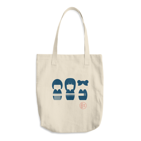 """Kokeshi Sisters"" Cotton Tote Bag"