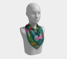 "Scarf - ""Flowers and Tigers and Bubbly! Oh My!"" in Teal"