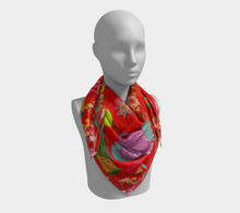 "Scarf - ""Flowers and Tigers and Bubbly! Oh My!"" in Fire Engine Red"